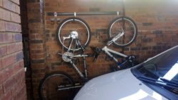 Our hook and rail systems is popular in garages especially to hang bikes against garage walls.