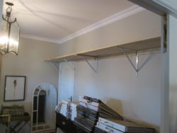 Board Brackets installed in this home is a high shelve strong and durable singel shelf