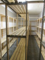Shelf Space Shelving systems is perfect for small storerooms as they are 100% customisable, this images shows a smal storeroom with many shelves and room to move around in