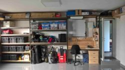 Image of a neat and tidy garage after we installed our garage shelving this garage was totally transformed