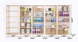 Shelf Space's Standard Dimensions for Storeroom Shelves. Shelving dimensions, image shows that the height of the shelves are adjustable to accommodate any item on the shelf. More shelves can be added