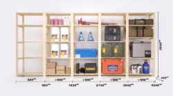 Our standard garage shelving dimensions for easy referrence