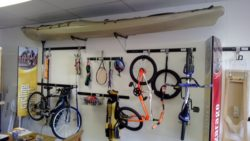 Image taken in our shop. This illustrates the variety of items that can be hanged in the garage using our hook and rail systems. this is anything you can have in your garage, off the floor and out of the way.