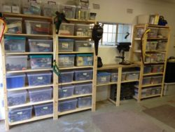 This is how this garage looks after we installed our garage shelving and hook and rails - Neat and organised Garage!!