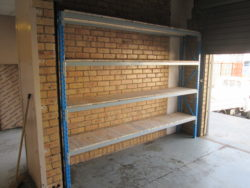 Image of long span racking. Our shelving are customisable and can be turned into long racking by removing the upright between the sections. Longer shelves for larger items.