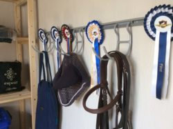 Our hook and rail systems featured in tackroom to hang a variety of items