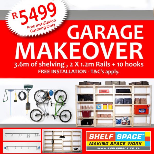 Image of Our Garage Makeover Deal product image. Our Garage makover deal combines our shelving and hook and rail systems and transforms garages all over Gauteng!