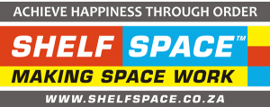 Shelf Space Logo with Slogan, happiness through order. Corporate and Home Shelving Specialists Gauteng