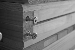Close Up photo of our shelving and screws.