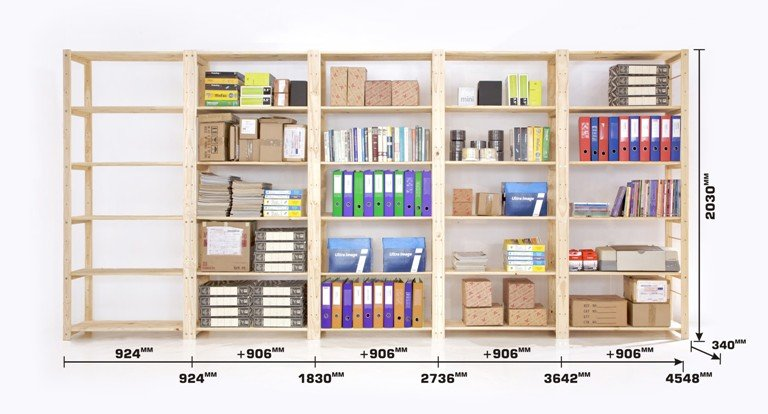 Our Standard Filing and Archive Storeroom Shelving Dimensions