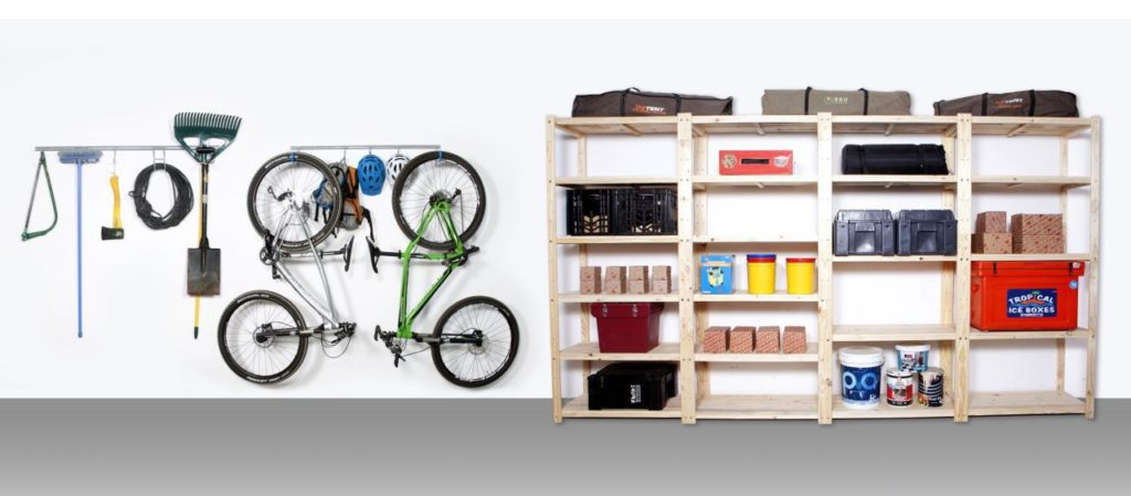 Image on how Shelf Space can transform any garage with hook and rail and garage shelving system