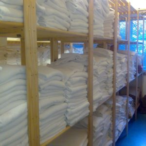 Photo of linen storage in a hotel storeroom
