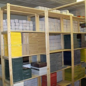 Our filing room and storeroom shelviing units are durable and strong and can carry a lot of weight like shown in this image